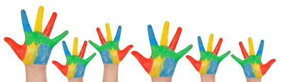 Children`s hands full of paint Royalty Free Stock Photos
