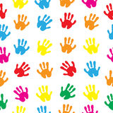 Children s hands, hand prints seamless texture. Children s palms background wallpaper. Vector illustration. Children s hands, hand prints seamless texture Royalty Free Illustration