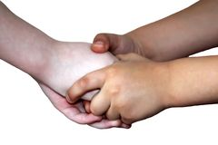 Children`s hands, handshake isolated royalty free stock image