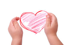 The children's hands is located in heart drawing. Isolated stock images