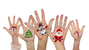 Children's hands raising up with painted Christmas symbols stock video