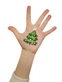 Children's hands raising up with painted Christmas tree Royalty Free Stock Photography