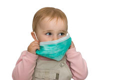 Children's health. The small child is protected from viruses (on a white background Stock Photo