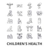 Children`s health, kids, eating healthy, doctor, playing, happy, nursery line icons. Editable strokes. Flat design Royalty Free Stock Photography