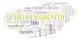 Children's Health word cloud. Wordcloud made with text only stock illustration