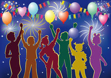 Children's Holiday. Vector silhouettes of dancing children with balloons in the background of fireworks during the holiday Stock Photo
