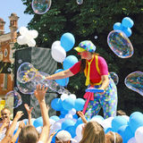 Children's holiday. A cheerful children's holiday soap bubbles Royalty Free Stock Photos