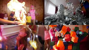 4 in 1: Children`s holiday. Children playing and enjoying the performance stock video