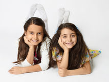 Children's holiday.two little girls Royalty Free Stock Photo