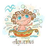 Children`s horoscope icon. Zodiac for kids. Aquarius sign . Vector. Astrological symbol as cartoon character. vector illustration