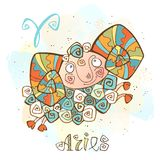 Children`s horoscope icon. Zodiac for kids. Aries sign . Vector. Astrological symbol as cartoon character. royalty free illustration