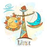 Children`s horoscope icon. Zodiac for kids. Libra sign . Vector. Astrological symbol as cartoon character. vector illustration