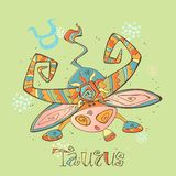 Children`s horoscope icon. Zodiac for kids. Taurus sign . Vector. Astrological symbol as cartoon character stock illustration