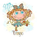 Children`s horoscope icon. Zodiac for kids. Virgo sign . Vector. Astrological symbol as cartoon character. vector illustration