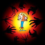 Children's horror. Monsters pulled his hands to the boy royalty free illustration