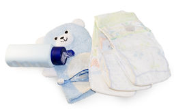 Children's hygiene items. Lotions, cleansers and other accessories stock images