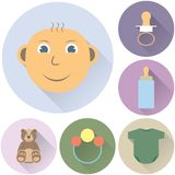 Children's icons on a white background Stock Photography