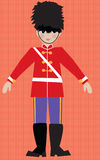 Children's illustarion English Royal Guard. Children's illustration English Royal Guard in retro paper doll style. young boy with fuzzy hat and boots Royalty Free Stock Photos