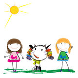 Childrens illustration of the animal and girls Stock Image