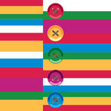 Children`s illustration. Buttons on striped background Royalty Free Stock Images