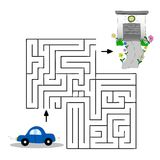 Children s illustration with a car, garage and labyrinth. Help the car find its way to the garage. Vector graphics. Hand. Drawing Royalty Free Stock Photo