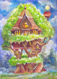 Children's illustration with a fantastic tree house. Fantasy pic. Ture painted by hand on canvas. Illustration for the book, background, poster, postcard, a vector illustration