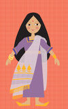 Children's illustration of an indian princess girl Stock Photography