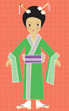 Children's illustration of a Japanese Girl in traditional kimono costume. Japanese girl doll in a traditional costume fun and retro in style with flowers in her Royalty Free Stock Photo
