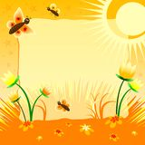 Children's illustration with label for text. Solar tulips. Yellow color Royalty Free Stock Images