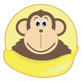Children's illustration of a monkey with a banana Royalty Free Stock Photo
