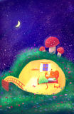 Children`s Illustration. / mouse in the burrow / digital painting Royalty Free Stock Images
