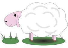 Pretty pink sheep standing on grass Royalty Free Stock Photo