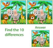 Children`s illustration Visual puzzle: find ten differences with. The beasts: an elephant, a monkey parrot and a giraffe in the jungle Royalty Free Stock Image