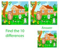 Children`s illustration Visual puzzle: find ten differences from. Domestic animals: a cow, a pig, a rooster and a goat on a farm Royalty Free Stock Photography