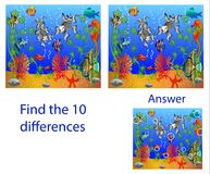 Children`s illustration Visual Puzzle: find ten differences from. The fish in the sea Stock Image
