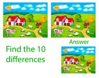 Children`s illustration Visual puzzle: find ten differences from. Pets: cow, pig, cock, sheep on the farm Royalty Free Stock Photo