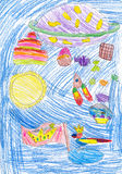 Children's imagination, pencil drawing Stock Images