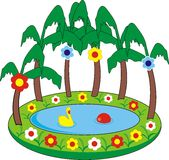 Children's inflatable swimming pool. Cartoon vector isolation illustration Stock Photo