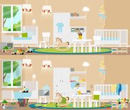 Children`s interior. Dirty, cluttered room in complete disarray and clean room. Vector flat illustration. stock illustration