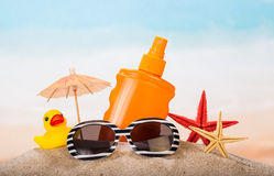 Children's items for relaxing on the beach Stock Photography