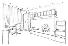 Children's, kids room graphical sketch Royalty Free Stock Image
