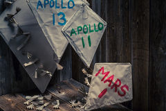 Children`s kites with space missions names prepared to first flight Stock Photography