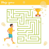 Children`s labyrinth. Vector. Cartoon. Flat. Illustration for children Runner and prize Stock Image