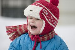 Children's laughter. The dared child outdoors Stock Image