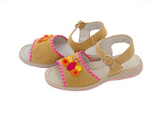 Children's leather sandals Stock Images