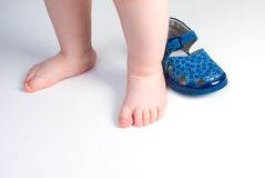 Children's leg and shoes royalty free stock photo