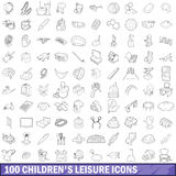 100 children s leisure icons set, outline style. 100 children s leisure icons set in outline style for any design vector illustration stock illustration