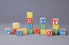 Children's Letter Blocks. In a studio setting royalty free stock photo