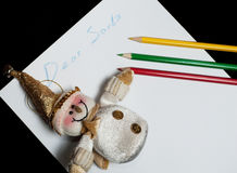 Children's letter Dear Santa Claus. Christmas and new year Stock Photos