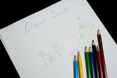 Children's letter Dear Santa Claus Stock Images